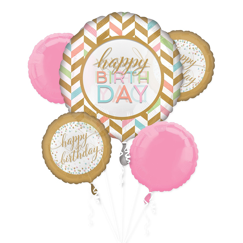 Pastel Confetti Deluxe Balloon Bouquet, 7pc Image #2