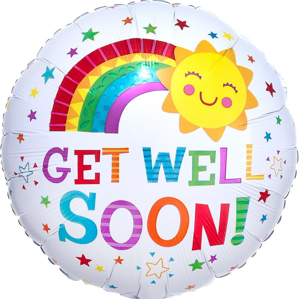 Smiling Sun Get Well Foil Balloon, 18in Image #1
