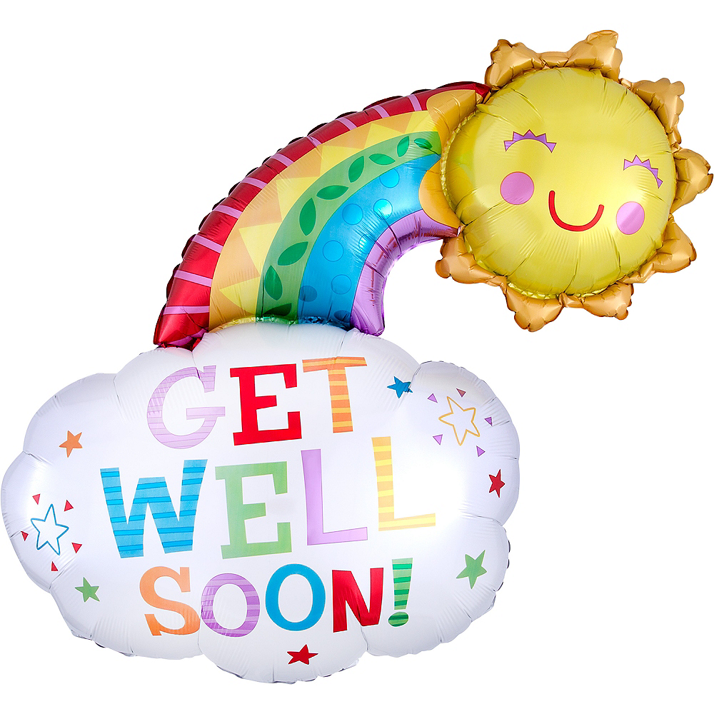 Rainbow & Sunshine Get Well Foil Balloon, 30in Image #1