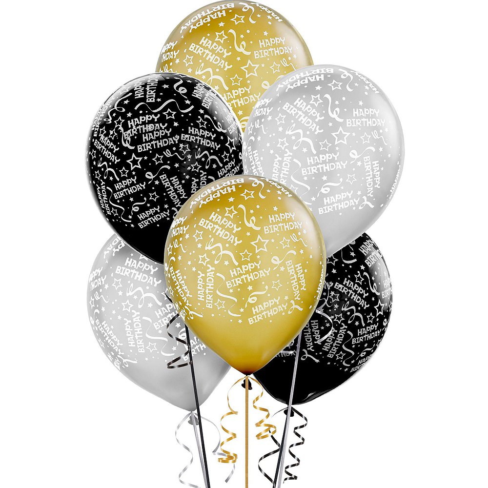 Black, Silver & Gold Sparkling Celebration Yard Decorating Kit Image #2