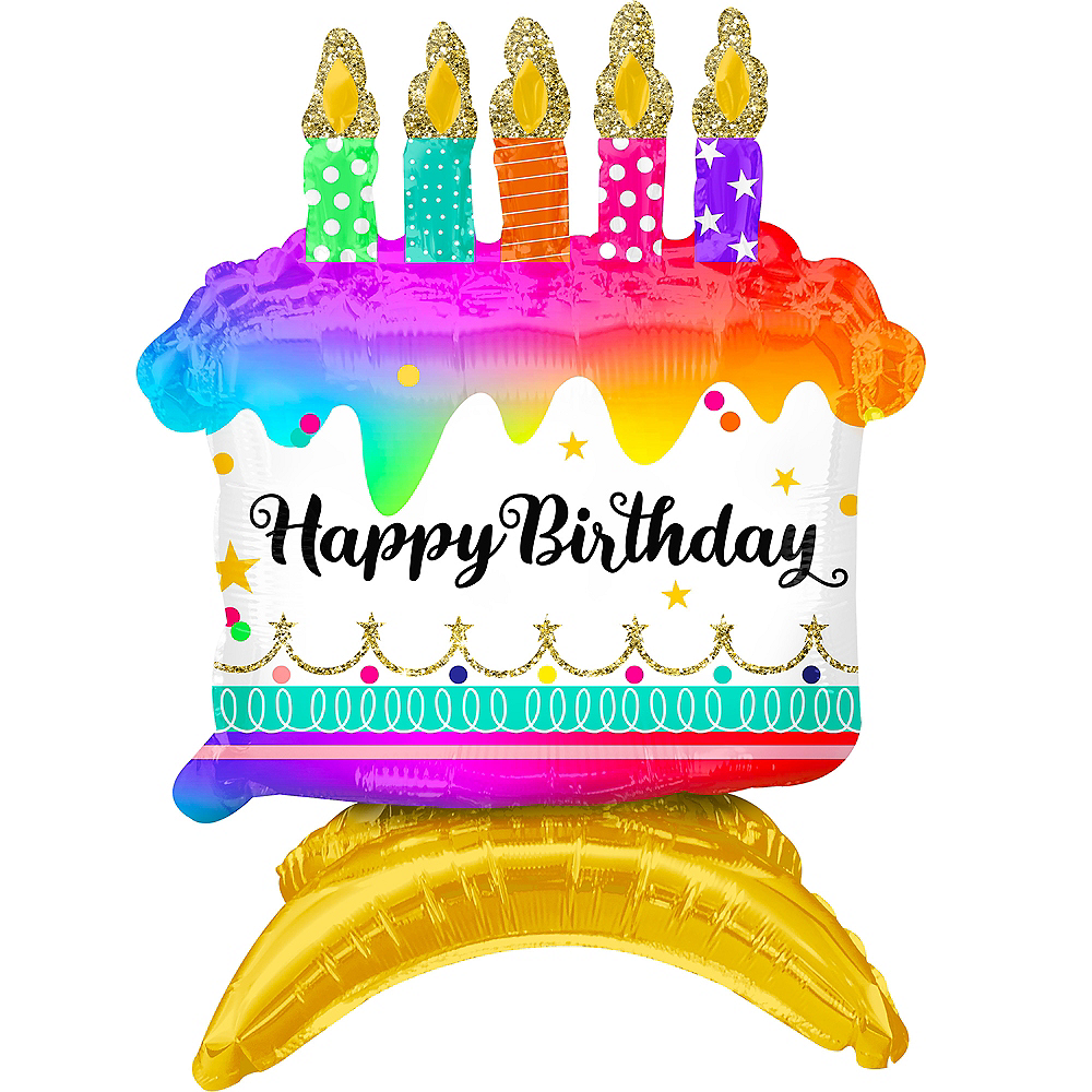 Air-Filled Sitting Birthday Cake Balloon, 15in Image #1
