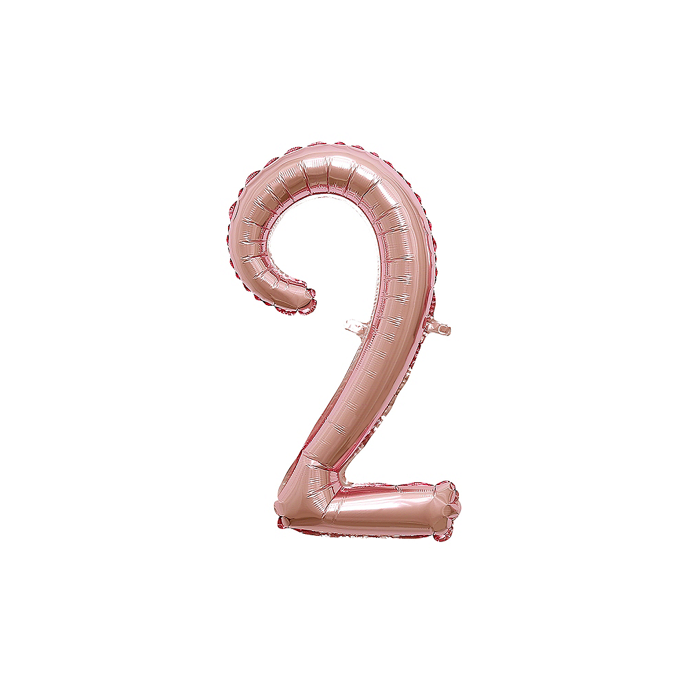 Air-Filled Rose Gold Cursive Number (2) Foil Balloon, 11in x 18in Image #1