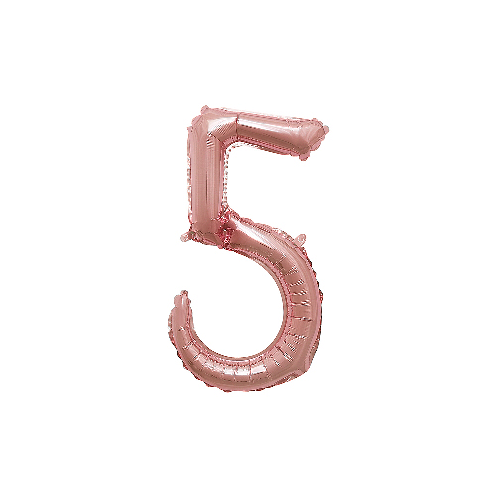 Air-Filled Rose Gold Cursive Number (5) Foil Balloon, 10in x 17in Image #1