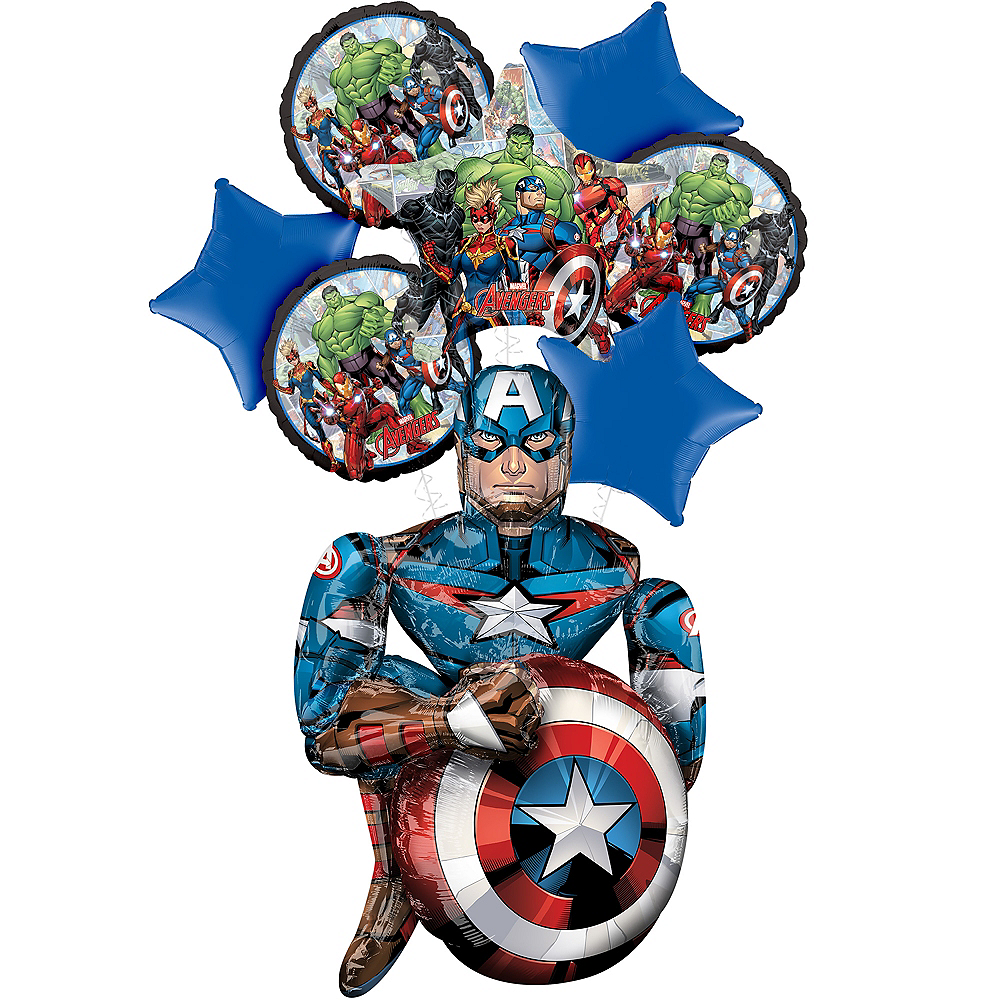 Avengers Unite Deluxe Airwalker Balloon Bouquet, 8pc Image #1