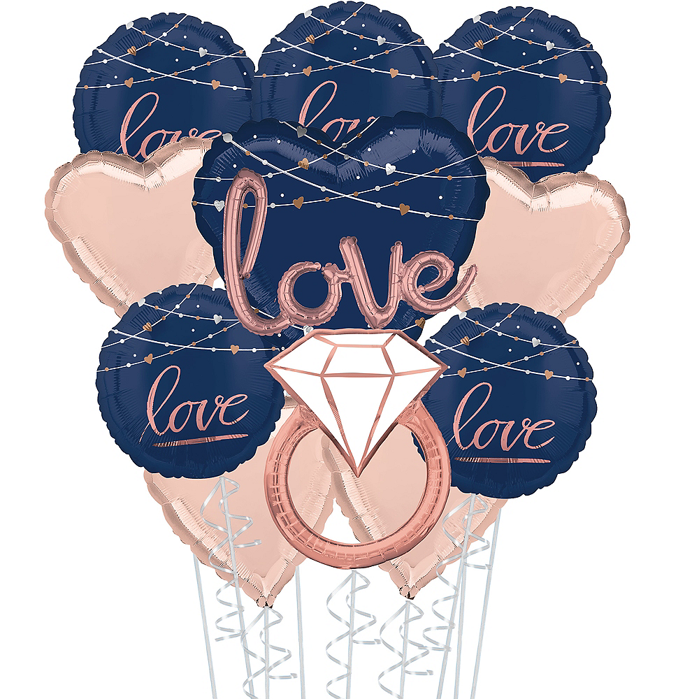 Navy Better Together Deluxe Wedding Balloon Bouquet, 11pc Image #1