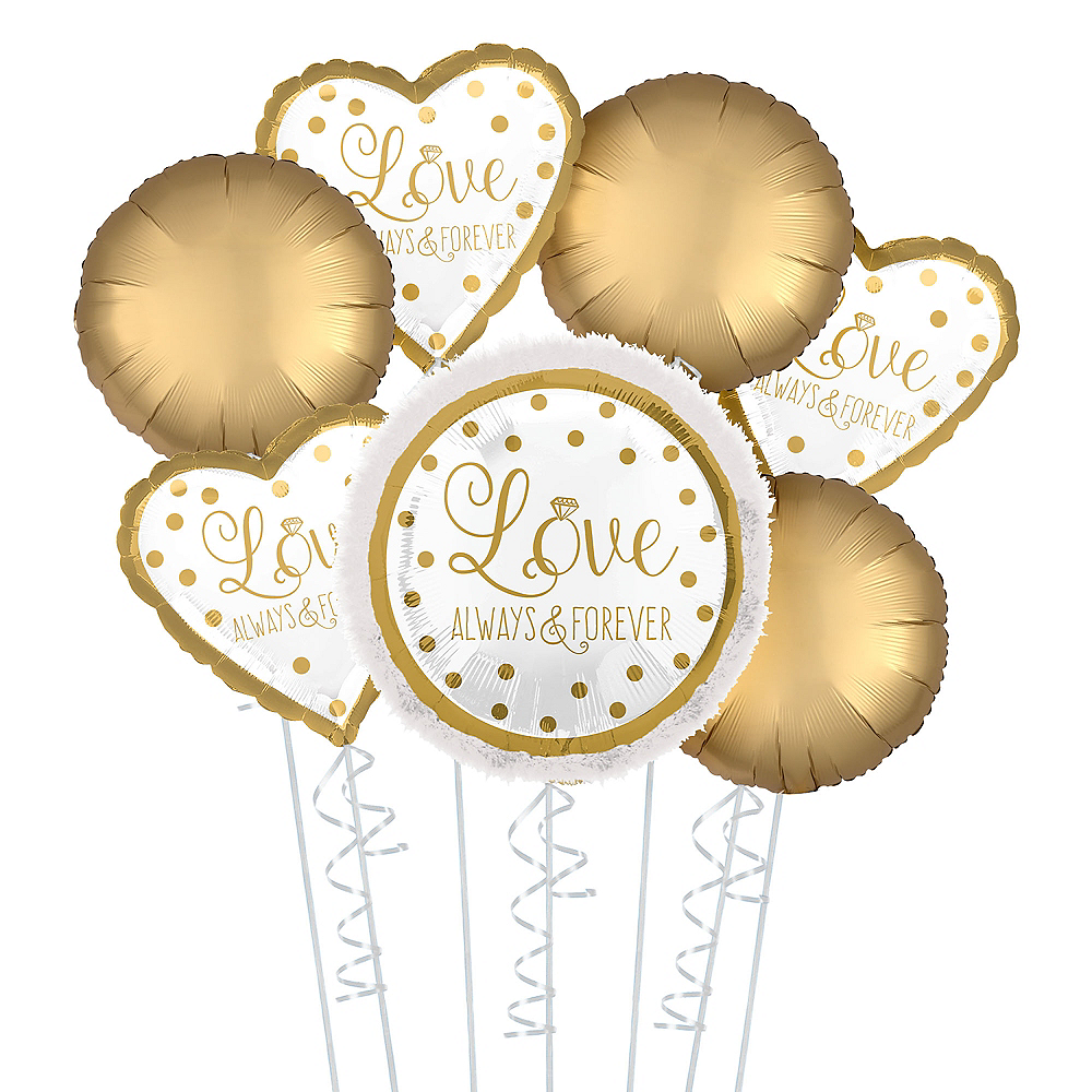 Sparkling Gold Deluxe Wedding Balloon Bouquet, 7pc Image #1