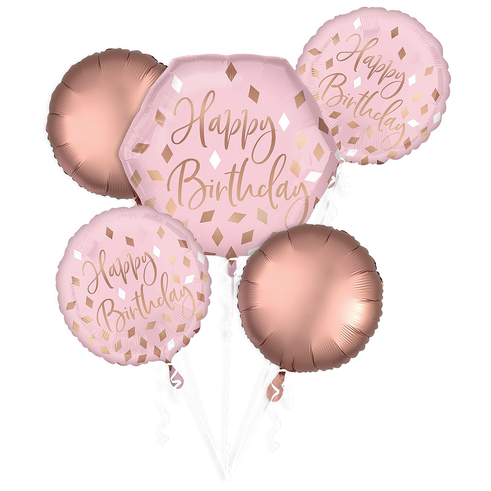 Blush Pink & Rose Gold Birthday Balloon Bouquet, 17pc Image #2