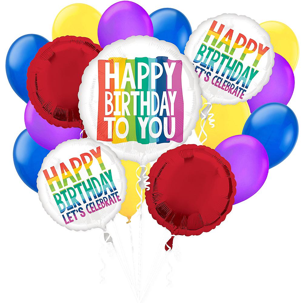 Rainbow Wish Birthday Balloon Bouquet, 17pc Image #1