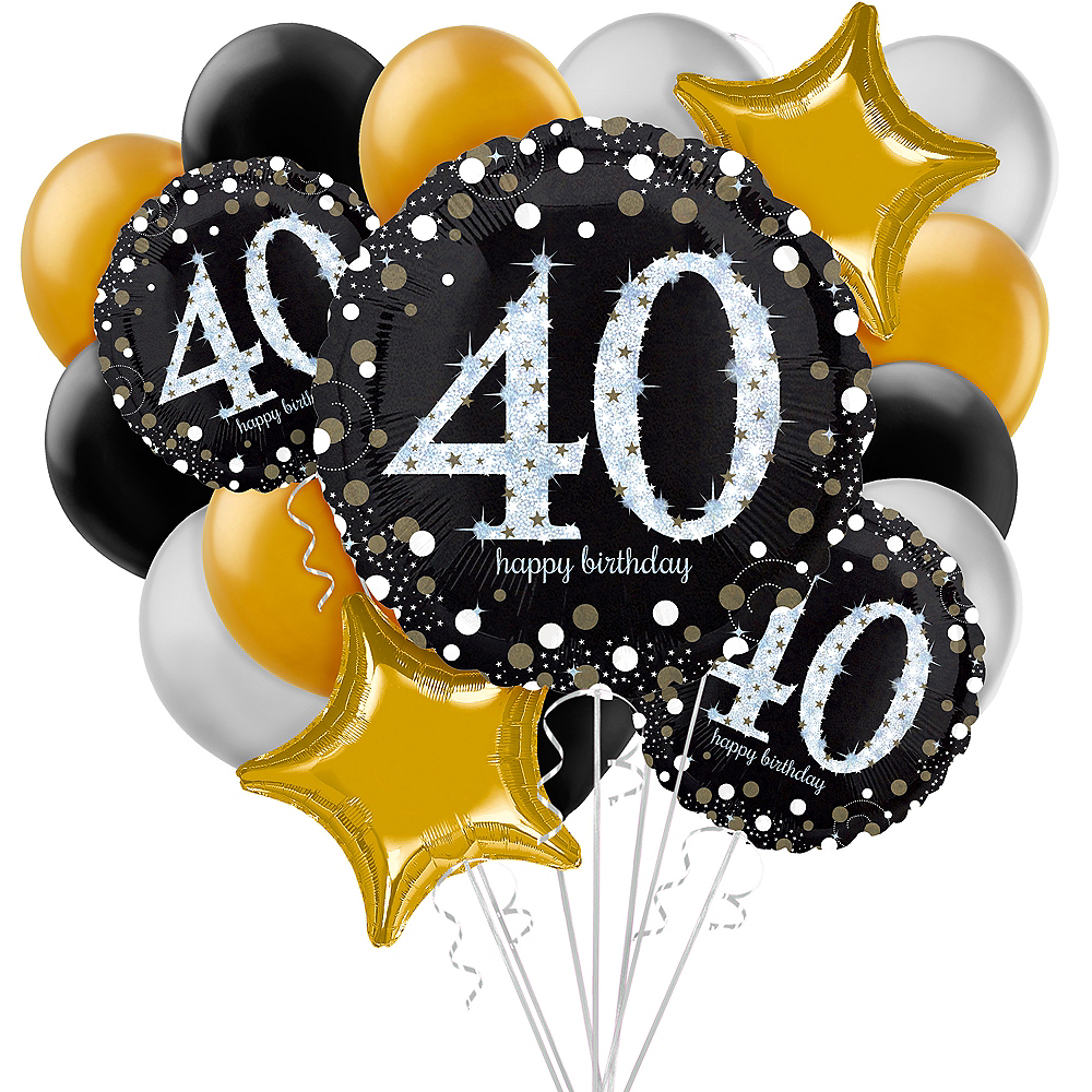 Sparkling Celebration 40th Birthday Balloon Bouquet, 17pc Image #1