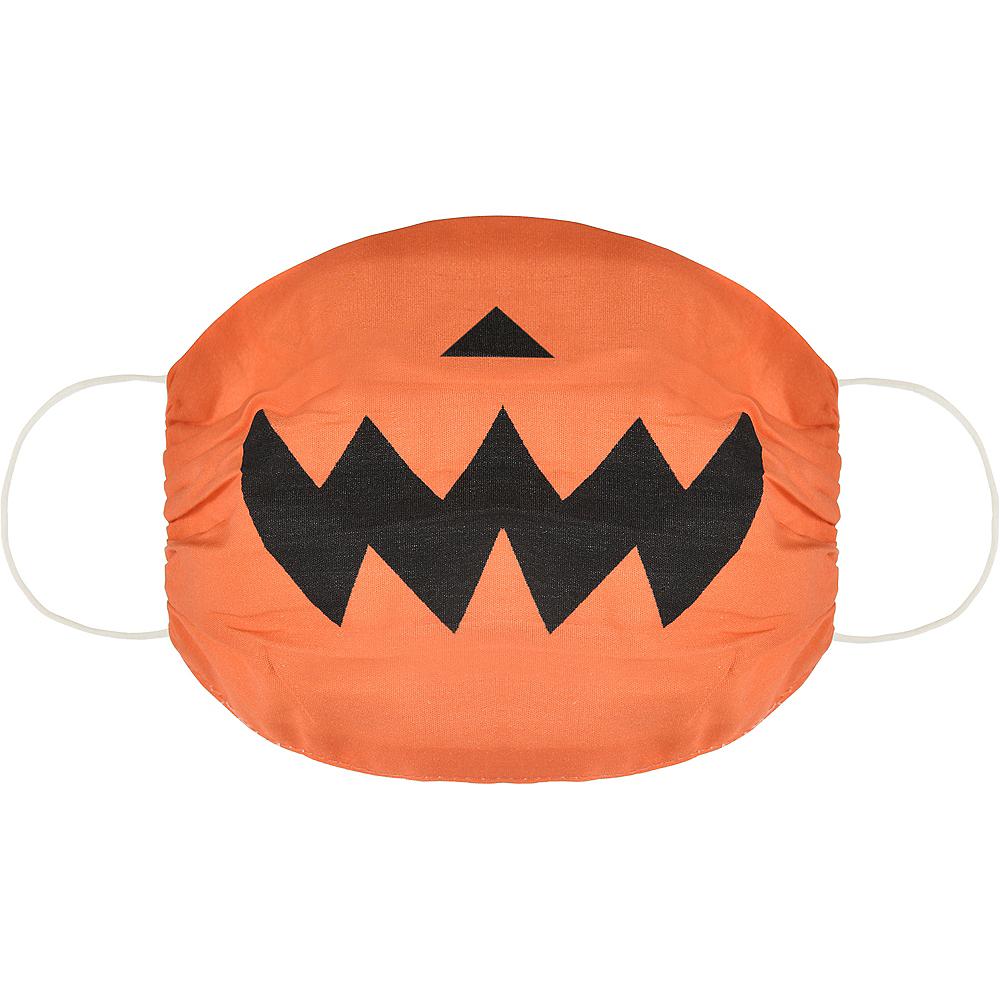 Child Orange Jack-o'-Lantern Face Mask Image #1
