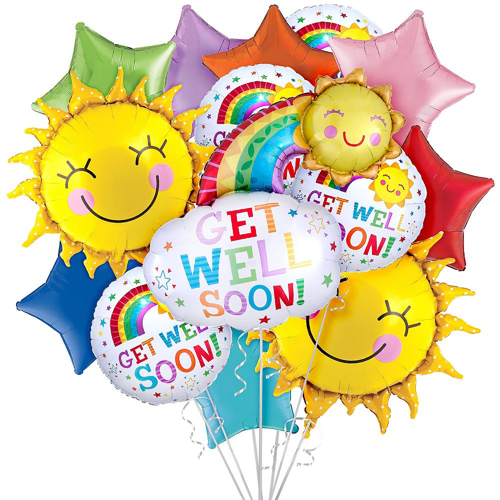 Rainbows & Sunshine Get Well Soon Balloon Bouquet, 14pc Image #1