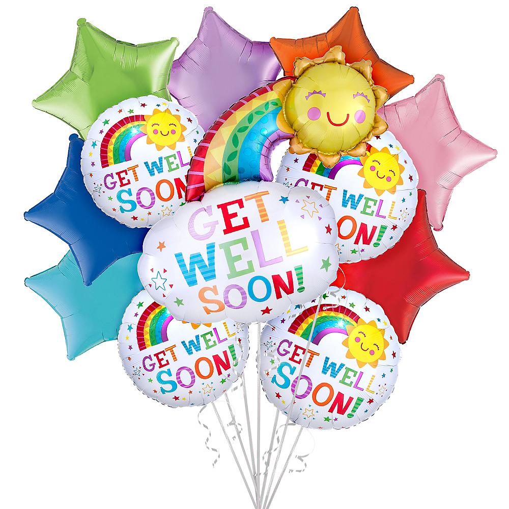 Rainbows & Sunshine Get Well Soon Balloon Bouquet, 12pc Image #1