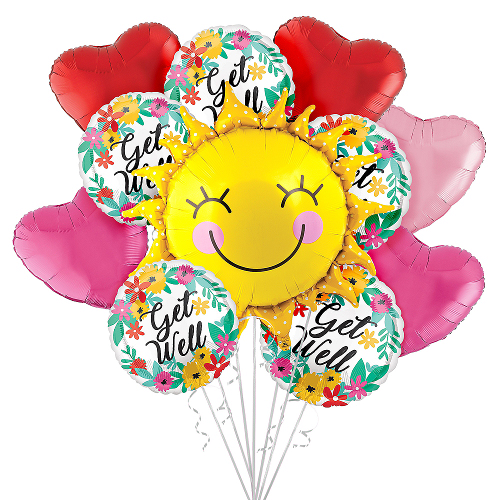 Sunshine & Flowers Get Well Soon Balloon Bouquet, 11pc Image #1