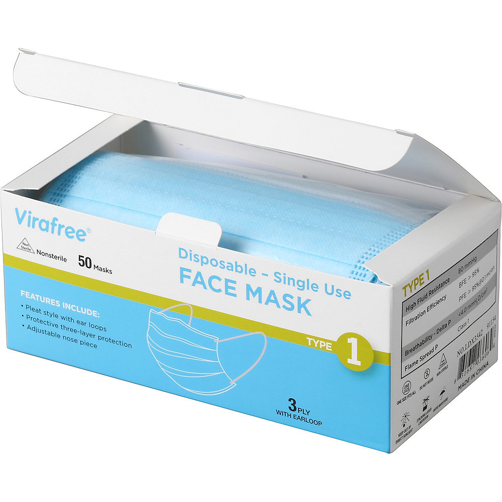 Disposable Protective Face Masks, 50ct Image #3
