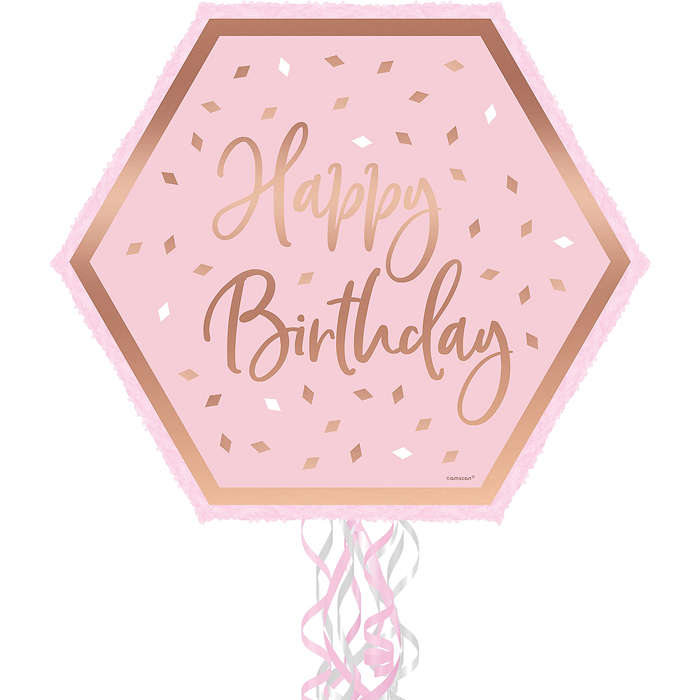 Metallic Pull String Blush Birthday Pinata Image #1