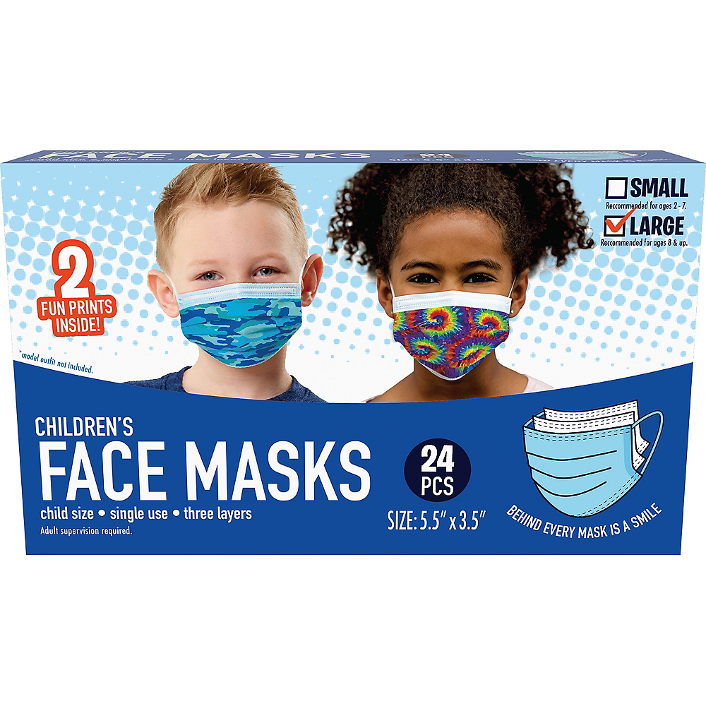 Disposable Protective Face Masks for Kids, Ages 8 and Up, 24ct Image #2