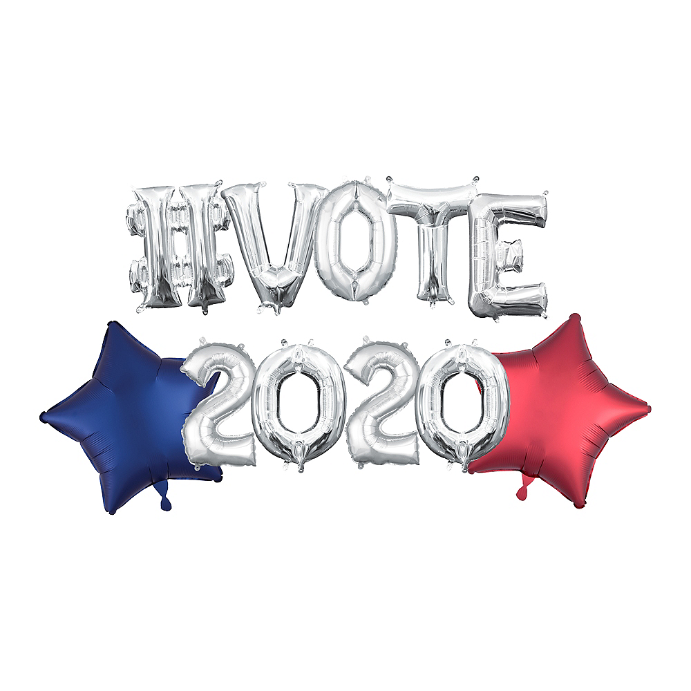 Air-Filled Silver Hashtag Vote 2020 Balloon Phrase Banner Kit, 13in, 11pc Image #1