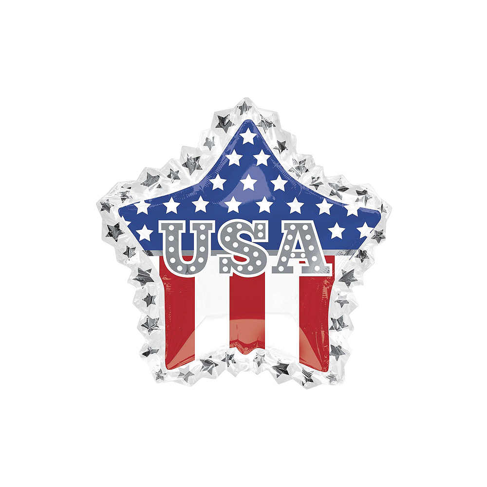 Patriotic American Flag Star Balloon Bouquet, 9pc Image #2