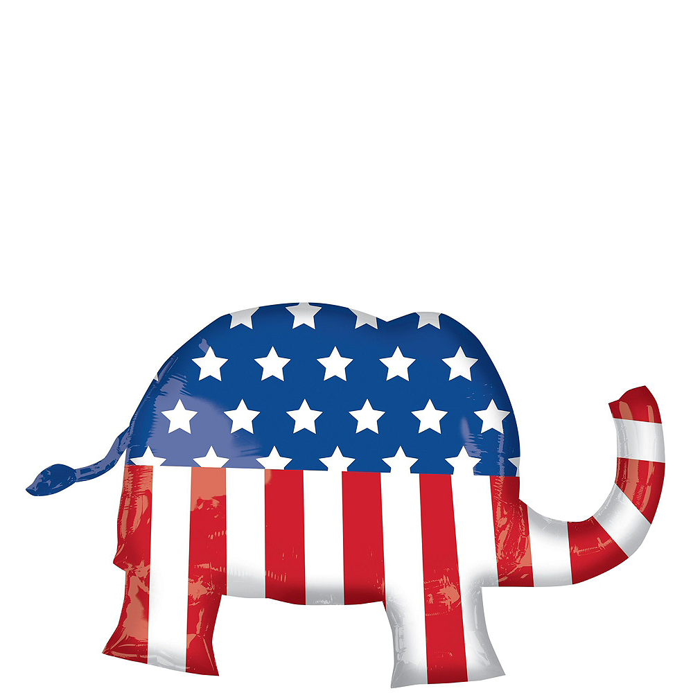 Nav Item for Silver USA Republican Elephant Election Balloon Bouquet, 6pc Image #2