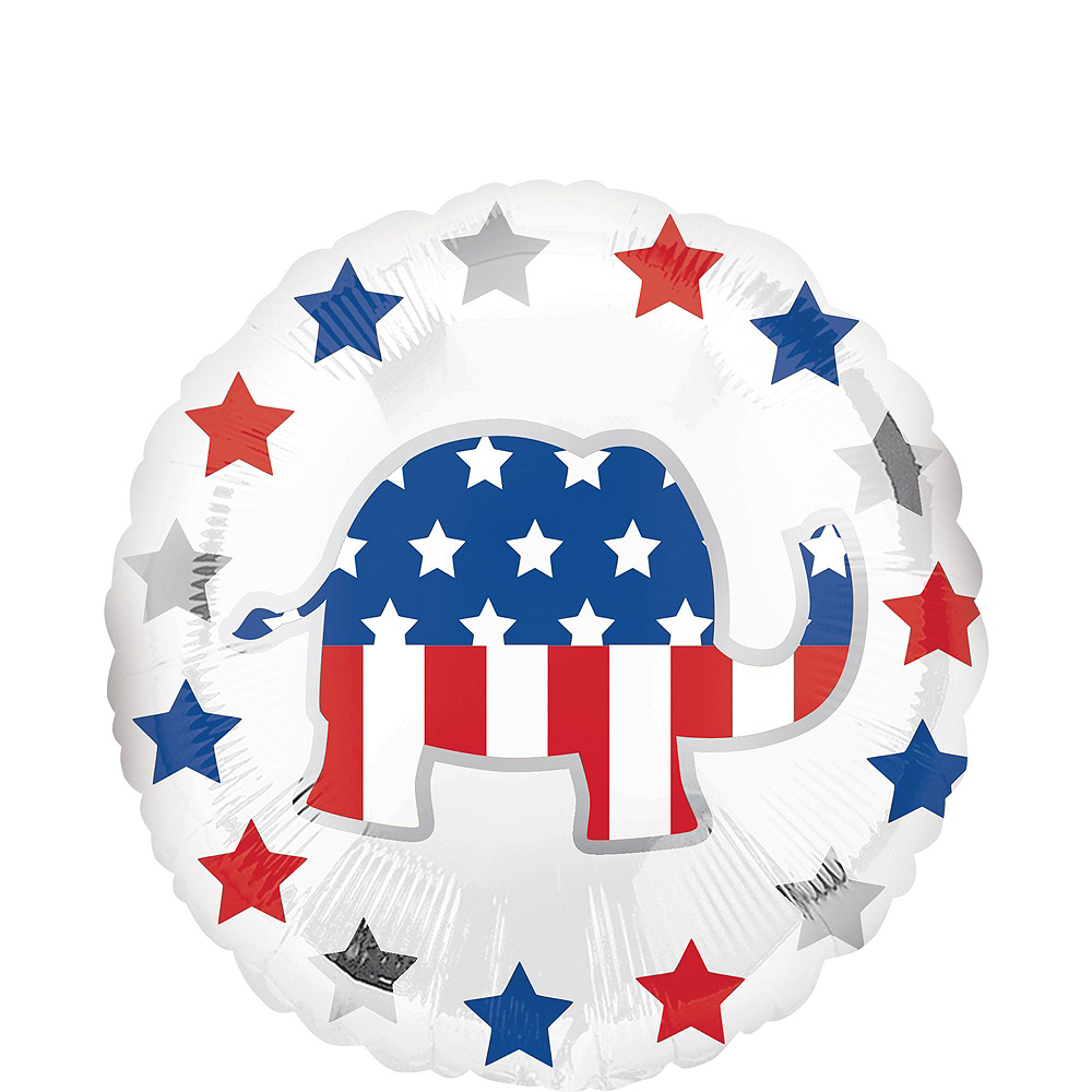 Nav Item for Silver USA Republican Elephant Election Balloon Bouquet, 6pc Image #3