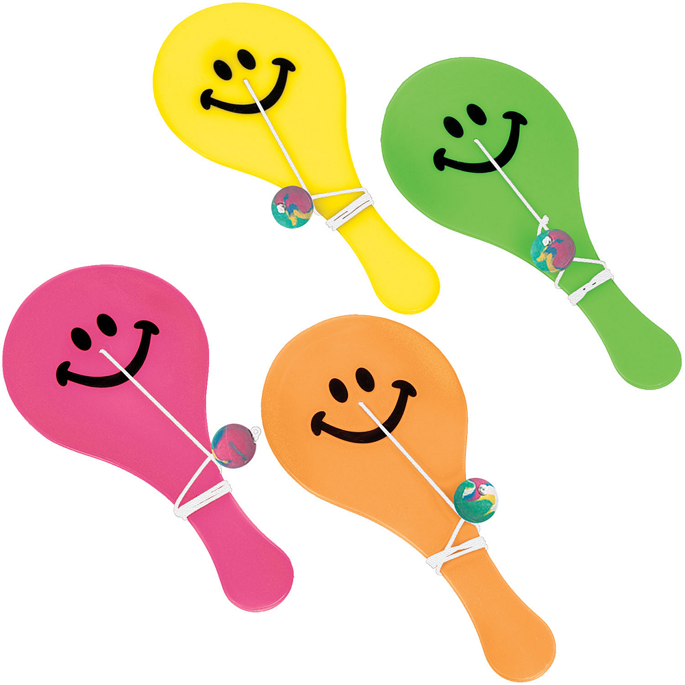 Bright Smiley Paddle Balls 16ct Image #1