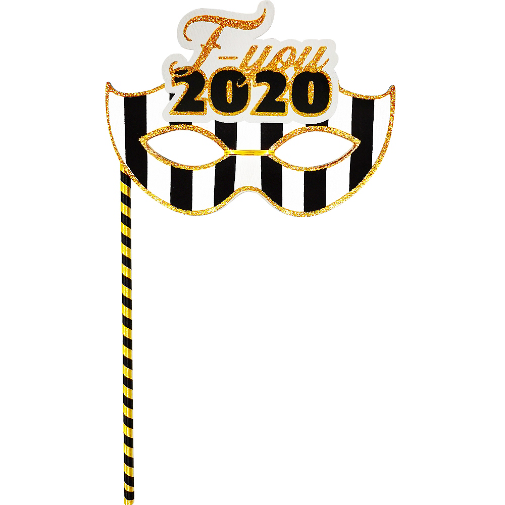 FU 2020 New Year's Masquerade Mask on a Stick Image #1