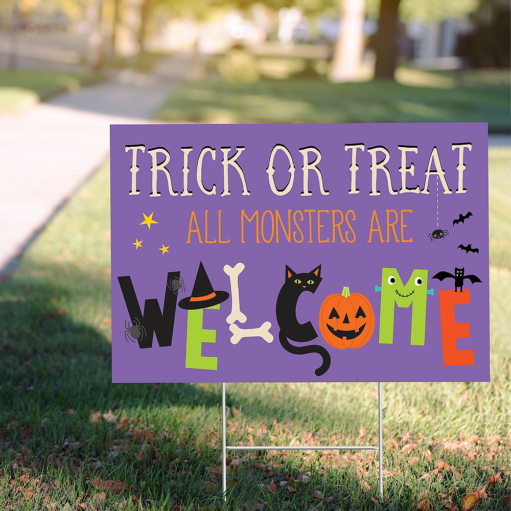 Welcome All Monsters Trick-or-Treat Yard Sign Image #1