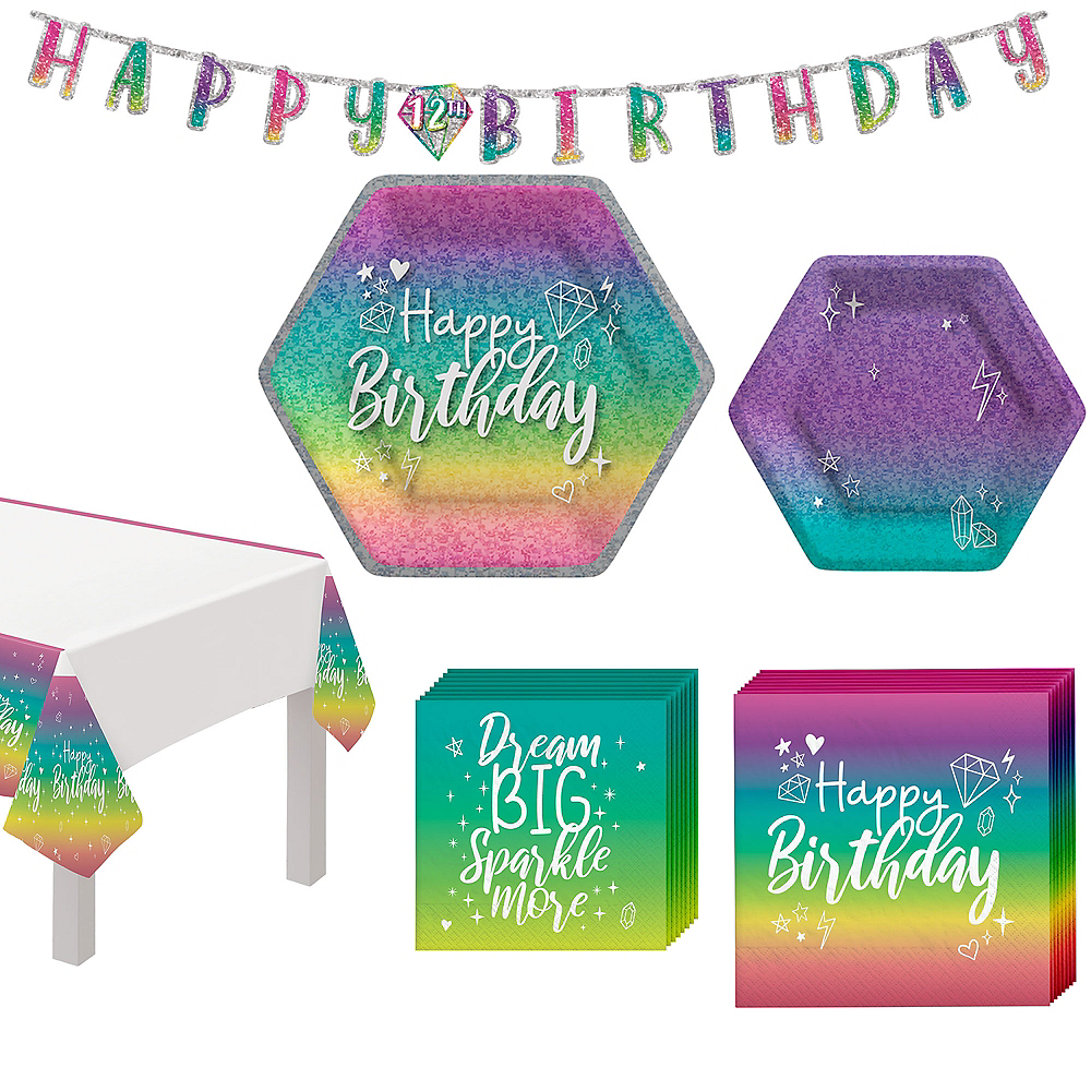 Sparkle Birthday Basic Tableware Kit for 8 Guests Image #1