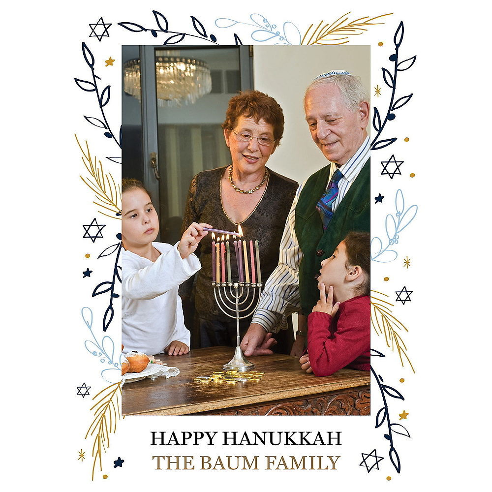 Custom Floral Hanukkah Photo Cards Image #1