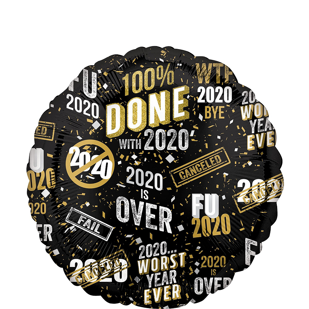 Gold FU 2020 100% Done New Year's Foil Balloon Bouquet, 6pc Image #4