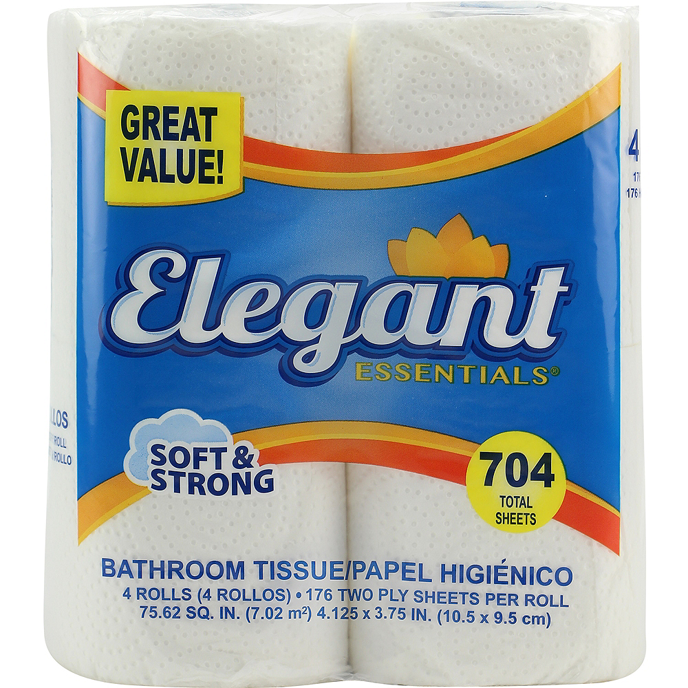 Elegant Essentials 2-Ply Toilet Paper, 4 Rolls, 704 Sheets Image #1