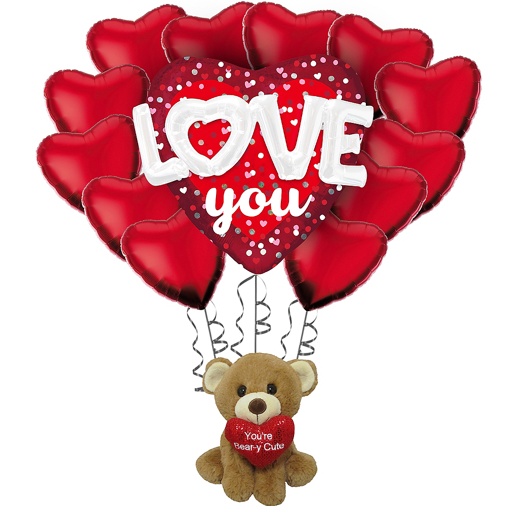 Love You Heart Balloon Bouquet & Bear Plush Valentine's Day Gift Kit Image #1