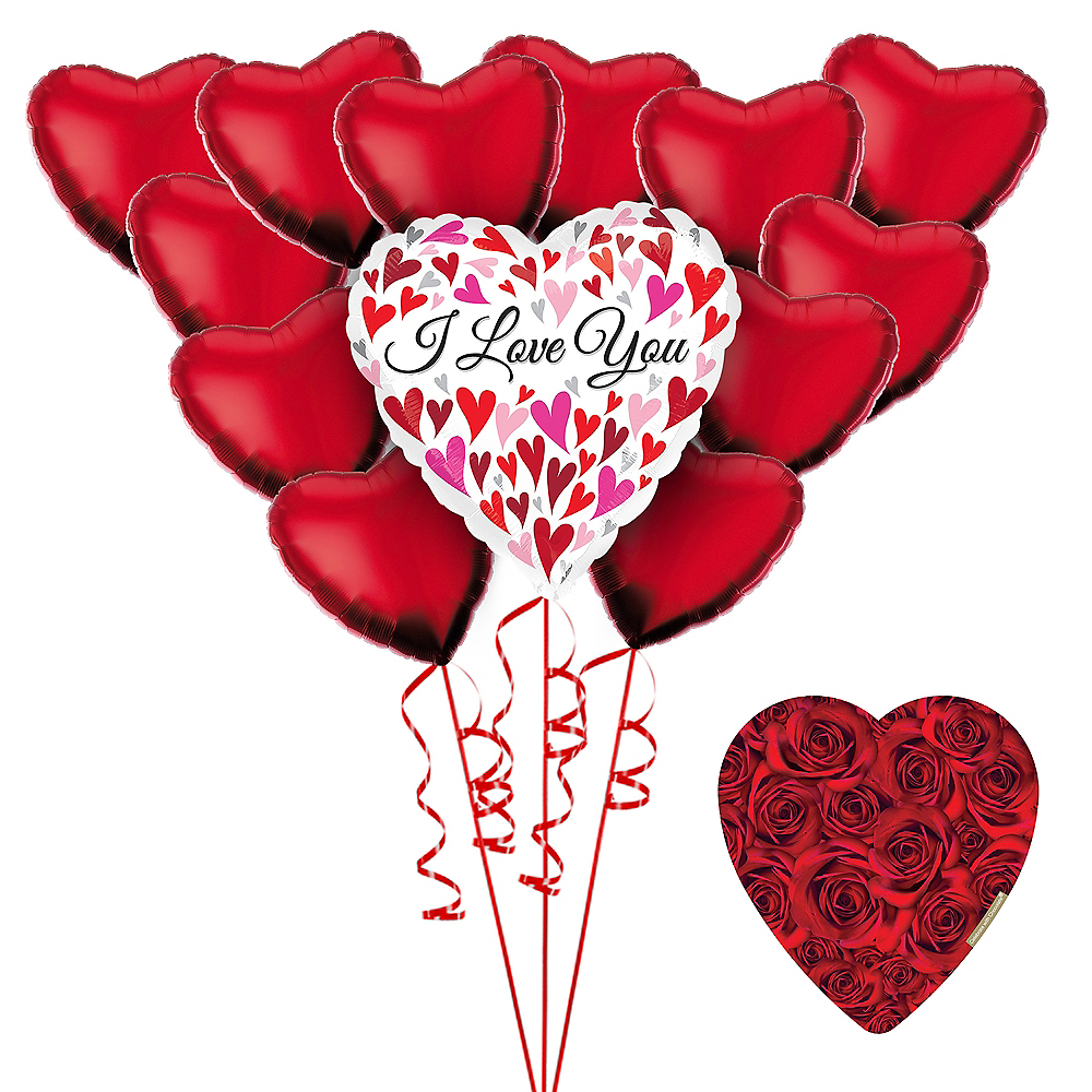 I Love You Heart Balloon Bouquet & Chocolates Valentine's Day Gift Kit Image #1