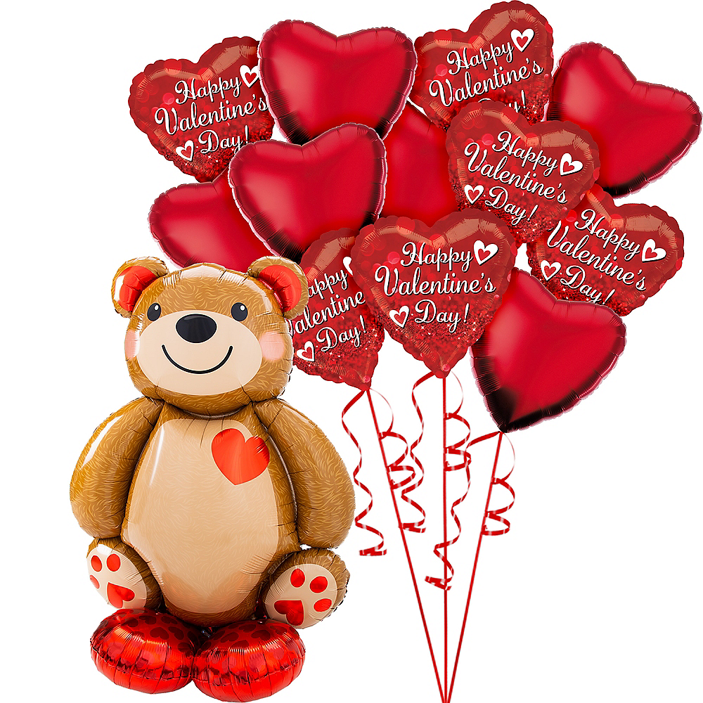 AirLoonz Cuddly Teddy Bear & Hearts Valentine's Day Balloon Kit, 13pc Image #1