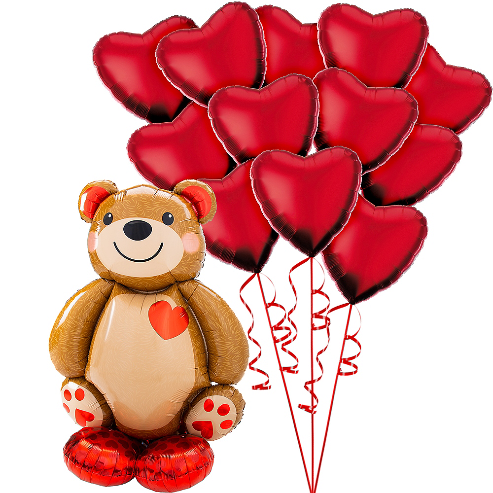 AirLoonz Cuddly Teddy Bear & Valentine's Day Hearts Balloon Kit, 13pc Image #1