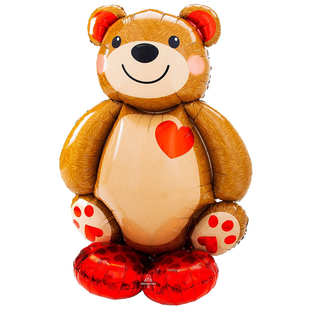 AirLoonz Cuddly Teddy Bear & Red Hearts Valentine's Day Balloon Kit, 13pc Image #3