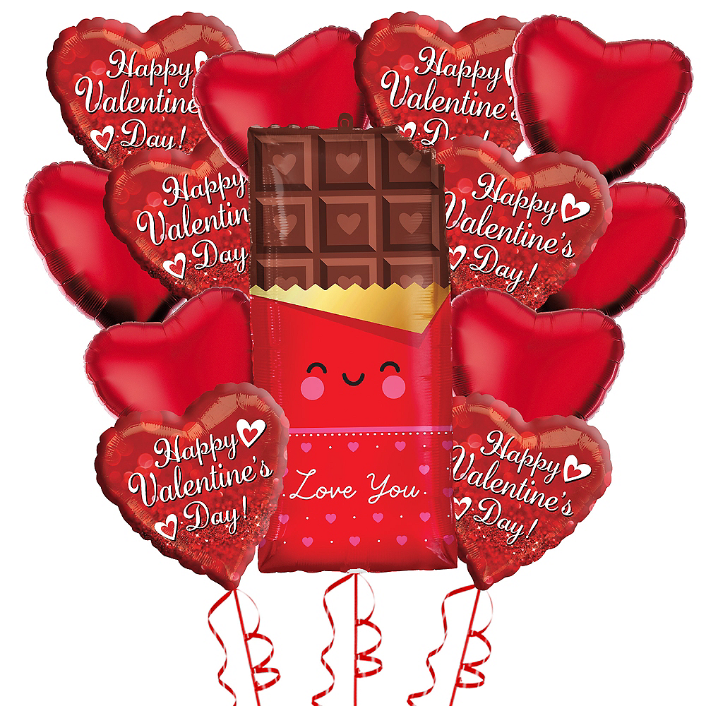 Chocolates & Hearts Valentine's Day Balloon Bouquet, 13pc Image #1