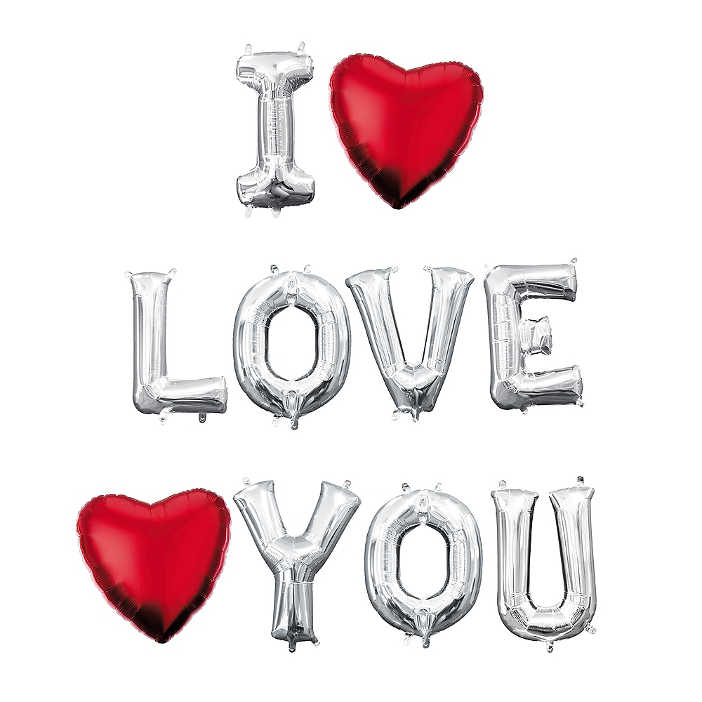 Air-Filled Silver I Love You Balloon Phrase, 13in, 10pc Image #1