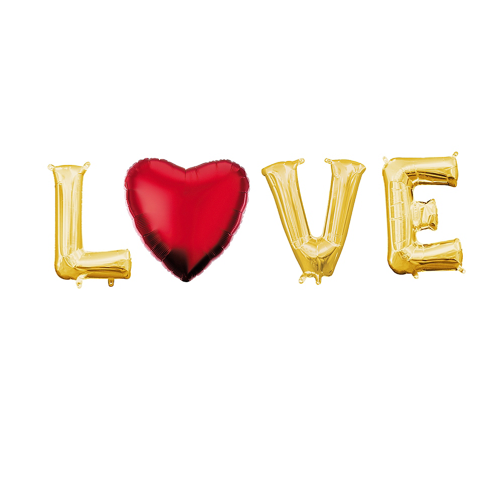 Air-Filled Gold Love Balloon Phrase, 13in, 4pc Image #1