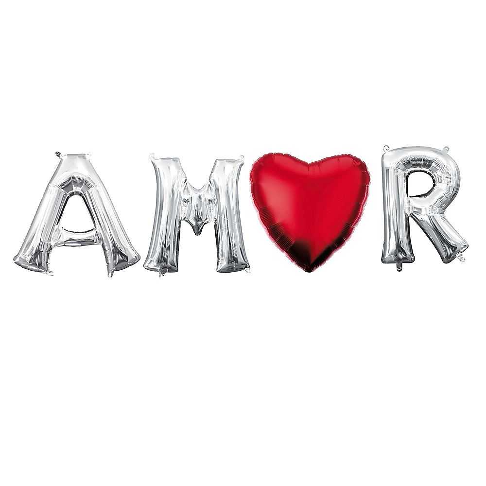 Air-Filled Silver Amor Balloon Phrase, 13in, 4pc Image #1