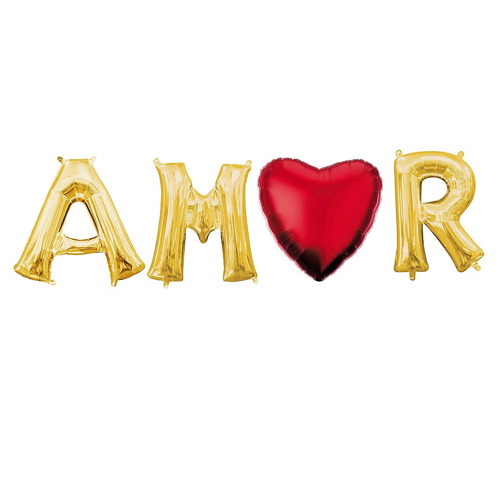 Air-Filled Gold Amor Balloon Phrase, 13in, 4pc Image #1
