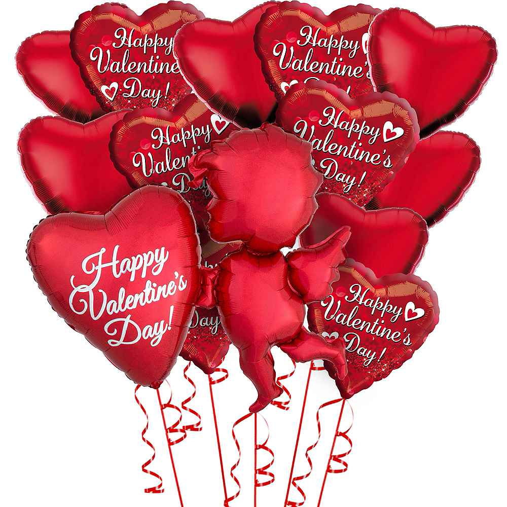 Red Cupid's Heart Valentine's Day Foil Balloon Bouquet, 13pc Image #1