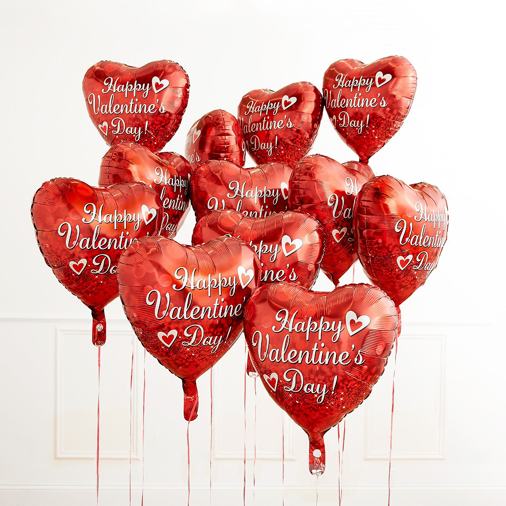 Nav Item for Red Cupid's Heart Valentine's Day Foil Balloon Bouquet, 13pc Image #3