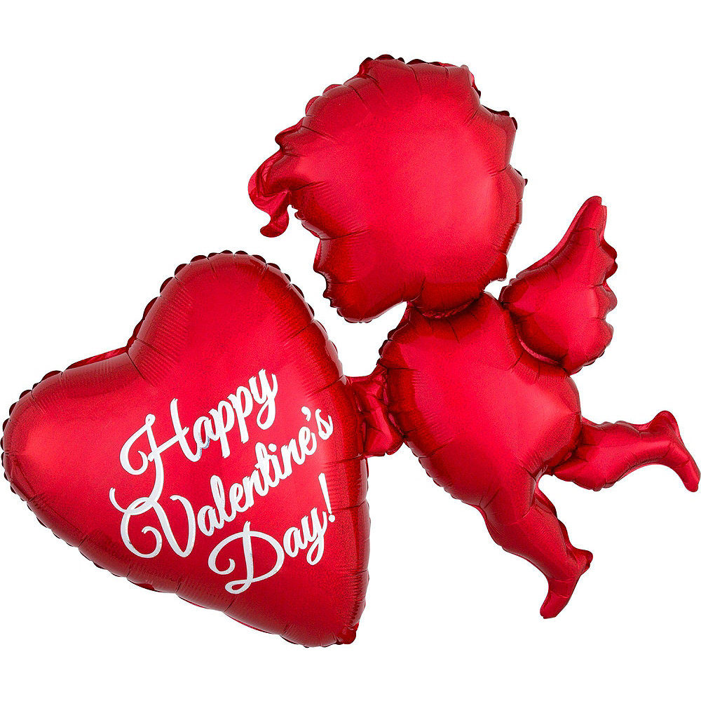 Nav Item for Red Cupid's Heart Valentine's Day Foil Balloon Bouquet, 13pc Image #4
