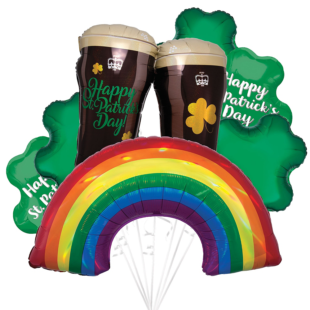 Lucky Toast St. Patrick's Day Foil Balloon Bouquet, 18pc Image #1