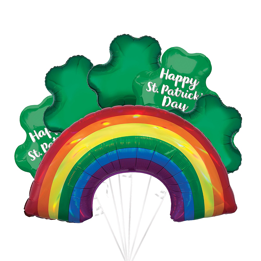 Emerald Isle Shamrocks St. Patrick's Day Foil Balloon Bouquet, 13pc Image #1
