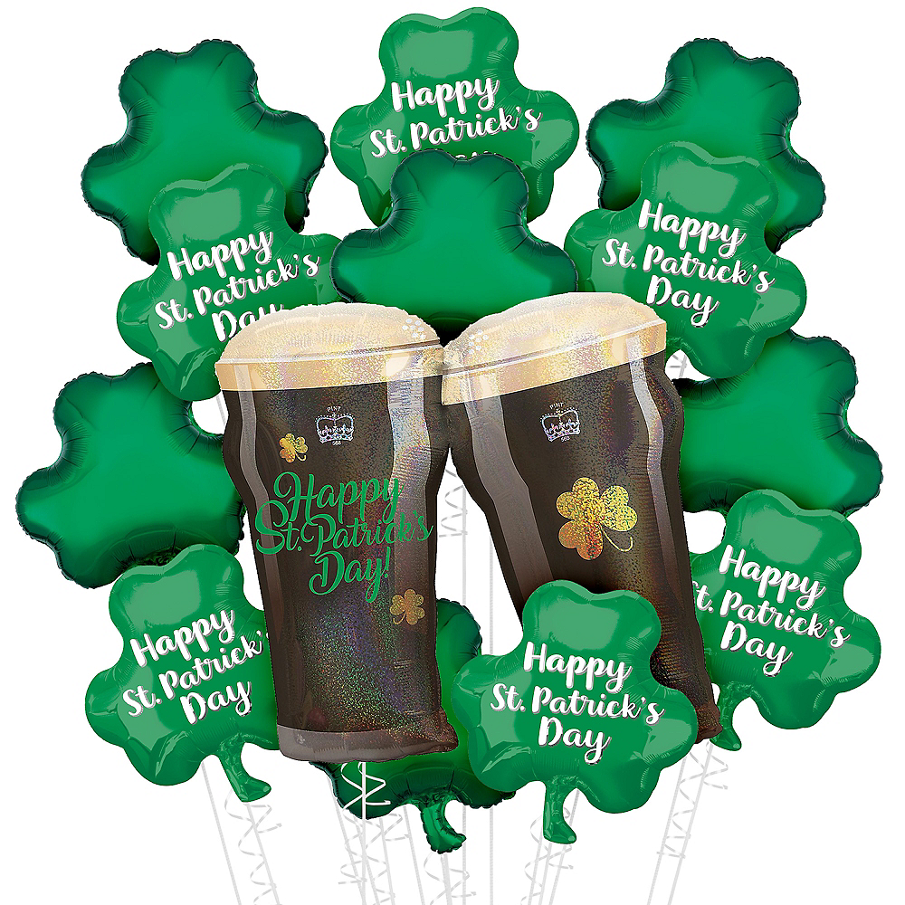 Lucky Toast St. Patrick's Day Foil Balloon Bouquet, 13pc Image #1