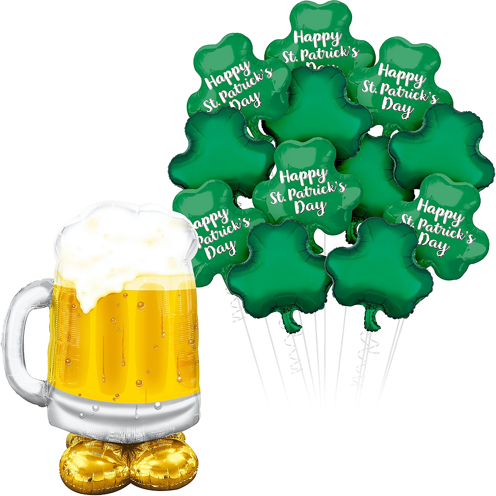 Cold Beer & Clovers St. Patrick's Day Balloon Bouquet, 13pc Image #1