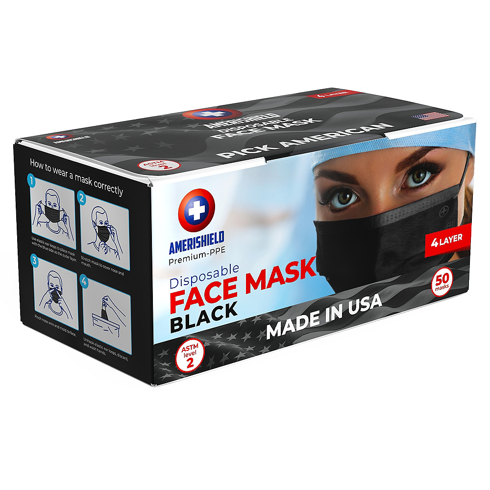 Black Disposable Protective Face Masks for Adults, 50ct Image #2