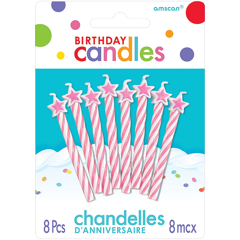 Pink Star Spiral Birthday Candles 8ct Image #1